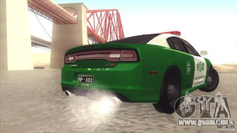 Dodge Charger SRT8 Carabineros für GTA San Andreas zurück linke Ansicht
