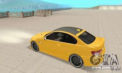 BMW M3 2008 Hamann v1.2 pour GTA San Andreas vue de côté