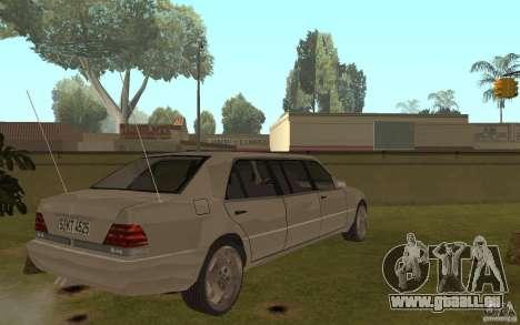 Mercedes-Benz S600 W140 Pullmann für GTA San Andreas rechten Ansicht