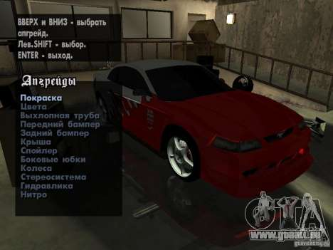 Ford Mustang Cobra R Tuneable pour GTA San Andreas vue arrière