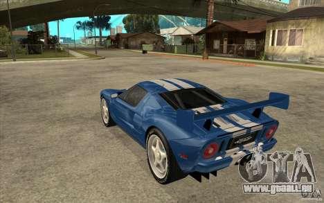 Ford GT pour GTA San Andreas sur la vue arrière gauche