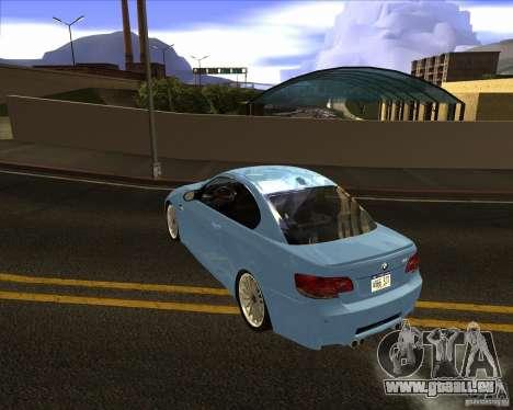 BMW M3 Convertible 2008 pour GTA San Andreas sur la vue arrière gauche