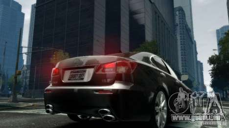 Lexus IS-F pour GTA 4 Vue arrière de la gauche