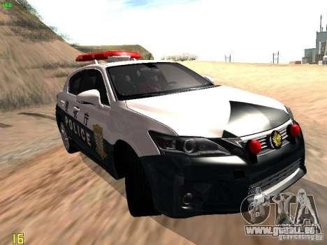 Lexus CT200H Japanese Police für GTA San Andreas zurück linke Ansicht