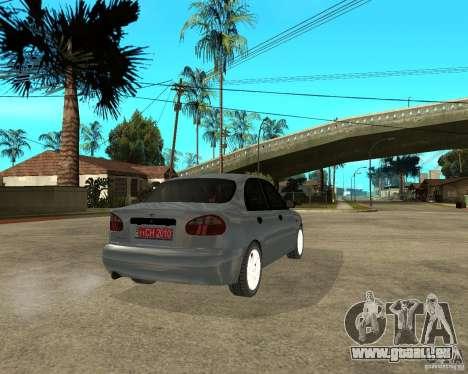 Daewoo Lanos pour GTA San Andreas sur la vue arrière gauche