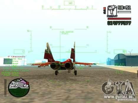 MIG-29 OVT für GTA San Andreas zurück linke Ansicht