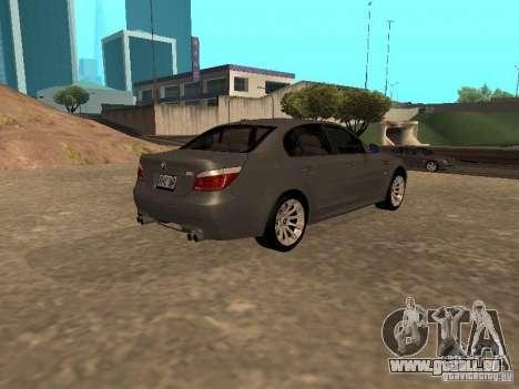 BMW M5 E60 2009 v2 pour GTA San Andreas laissé vue