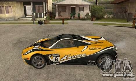 Pagani Huayra ver. 1.1 pour GTA San Andreas sur la vue arrière gauche
