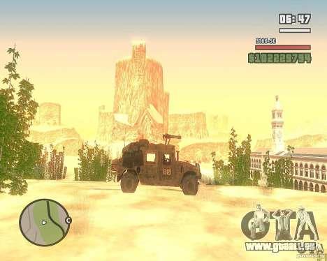 Hummer H1 de COD MW 2 pour GTA San Andreas vue intérieure