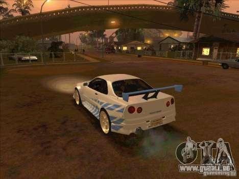 Nissan Skyline GT-R R34 2 Fast 2 Furious pour GTA San Andreas laissé vue