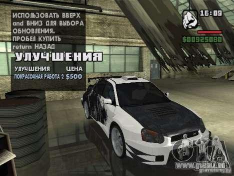 Subaru Impreza Wrx Sti 2002 pour GTA San Andreas laissé vue