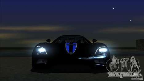 Koenigsegg Agera 2010 für GTA San Andreas obere Ansicht
