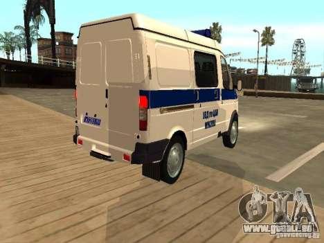 GAZ 2217 Sobol POLICE pour GTA San Andreas sur la vue arrière gauche