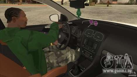Volkswagen Golf VI 2010 Stance Nation pour GTA San Andreas vue intérieure