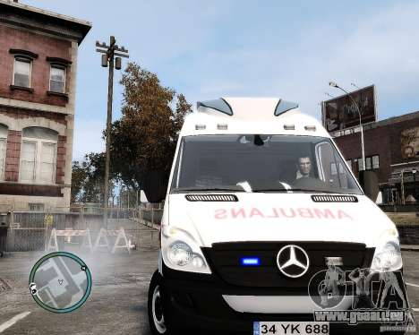 Mercedes Sprinter Turkish Ambulance für GTA 4 Rückansicht