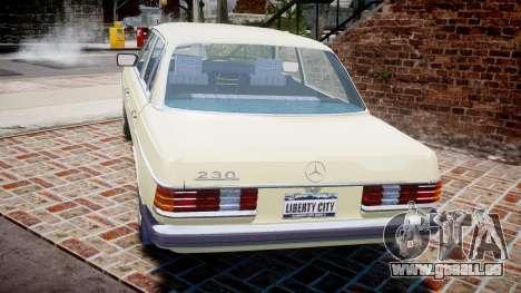 Mercedes-Benz 230E 1976 pour GTA 4 Vue arrière de la gauche