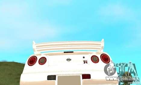 Nissan SkyLine R34 Tunable V2 pour GTA San Andreas vue de dessus