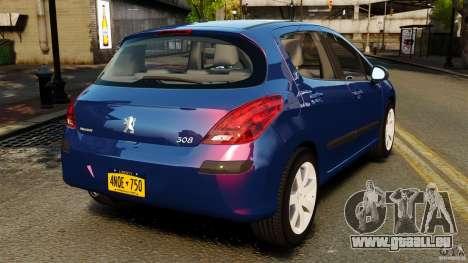 Peugeot 308 2007 pour GTA 4 Vue arrière de la gauche