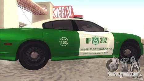Dodge Charger SRT8 Carabineros pour GTA San Andreas laissé vue