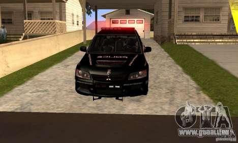 Mitsubishi Lancer Evo VIII MR Police für GTA San Andreas zurück linke Ansicht