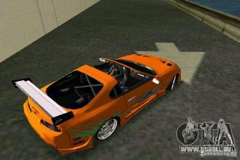 Toyota Supra Fast and the Furious pour GTA Vice City sur la vue arrière gauche