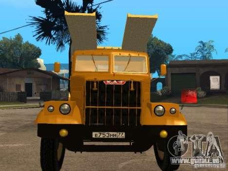 Transporteur auto KrAZ 255 pour GTA San Andreas laissé vue