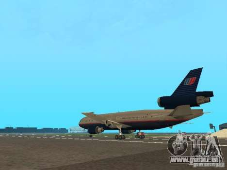 McDonell Douglas DC10 United Airlines pour GTA San Andreas sur la vue arrière gauche
