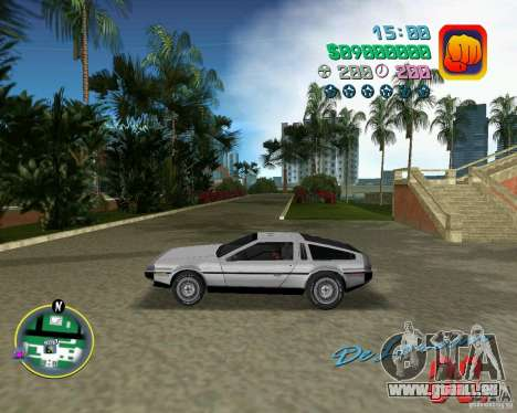 DeLorean DMC 12 für GTA Vice City obere Ansicht
