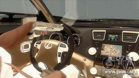 Lexus RX350 pour GTA San Andreas vue intérieure