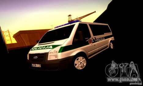 Ford Transit Policija für GTA San Andreas obere Ansicht
