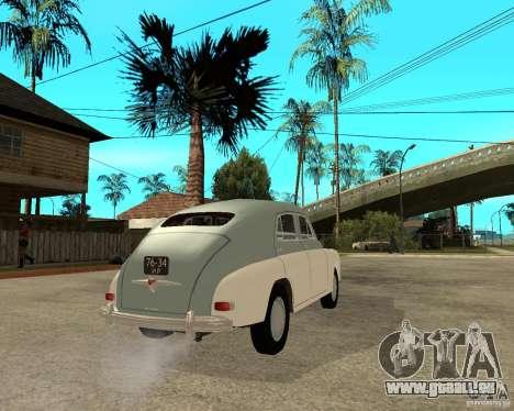 GAZ M20 Pobeda für GTA San Andreas zurück linke Ansicht
