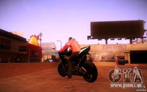 Aprilia RSV-4 Black Edition für GTA San Andreas zurück linke Ansicht