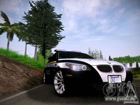 BMW M5 E60 Police für GTA San Andreas zurück linke Ansicht