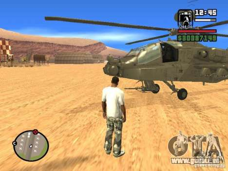 AH-64D Longbow Apache pour GTA San Andreas vue de droite