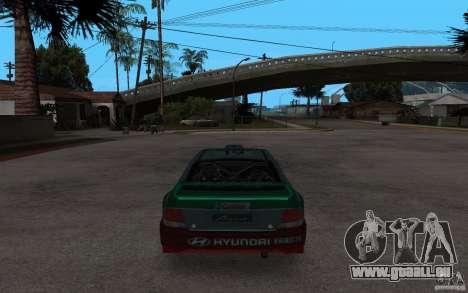 Hyundai Accent WRC für GTA San Andreas zurück linke Ansicht