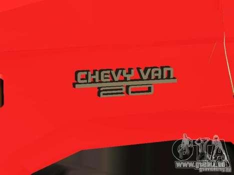 Chevrolet Van G20 LAFD pour GTA San Andreas vue intérieure