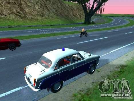 Moskvitch 403 avec Police pour GTA San Andreas sur la vue arrière gauche