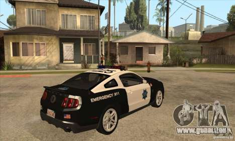 Shelby GT500 2010 Police pour GTA San Andreas vue de droite