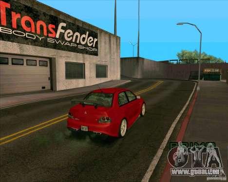 Mitsubishi Lancer Evolution 8 MostWanted für GTA San Andreas zurück linke Ansicht