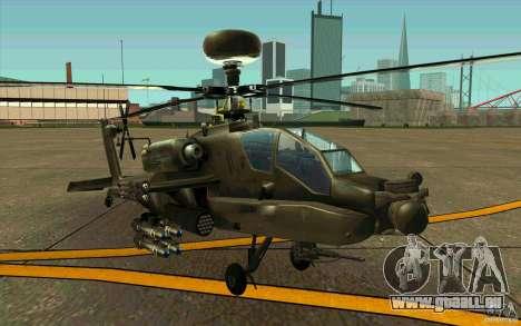Apache AH64D Longbow pour GTA San Andreas laissé vue