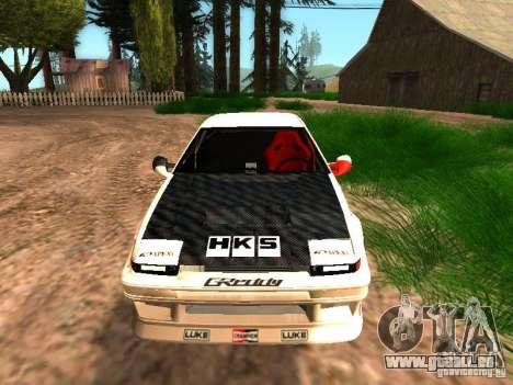 Toyota AE86 Coupe pour GTA San Andreas sur la vue arrière gauche