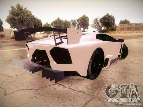 Lamborghini Reventon GT-R pour GTA San Andreas sur la vue arrière gauche