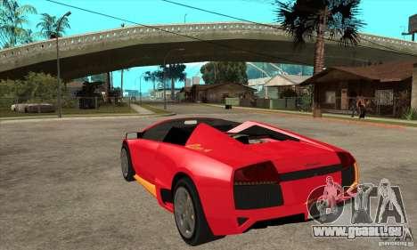 Lamborghini Murcielago LP650 für GTA San Andreas zurück linke Ansicht