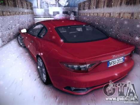 Maserati Gran Turismo S 2011 V2 pour GTA San Andreas sur la vue arrière gauche