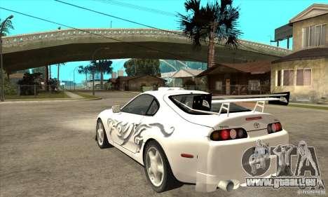 Toyota Supra NFSMW Tunable pour GTA San Andreas vue arrière