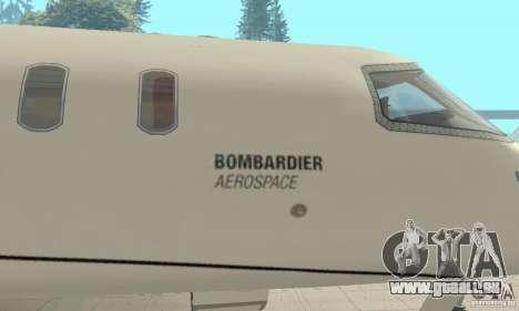 Bombardier Leardjet 45XR für GTA San Andreas Rückansicht
