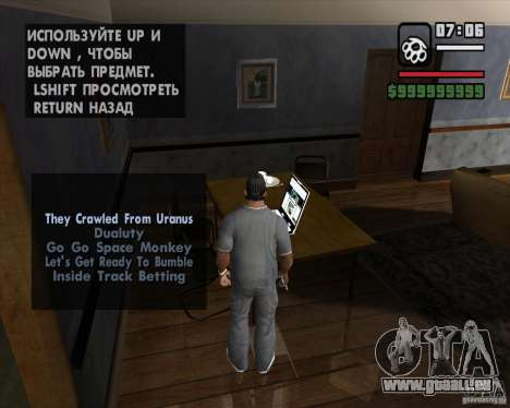 La possibilité de jouer sur un ordinateur portab pour GTA San Andreas deuxième écran