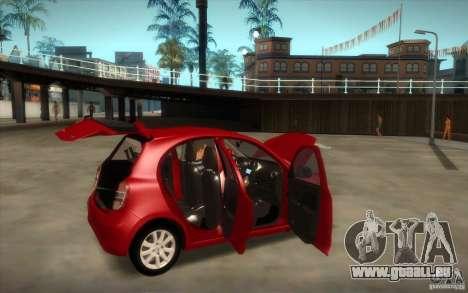 Nissan Micra 2011 für GTA San Andreas Rückansicht
