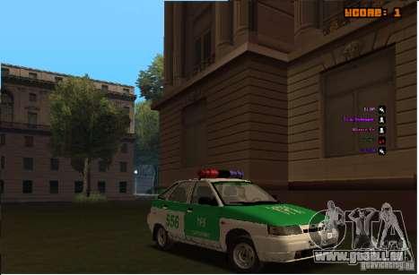 VAZ-2112 YPX Polizei für GTA San Andreas Innenansicht