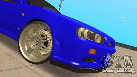 Nissan Skyline R34 FNF4 pour GTA San Andreas vue intérieure